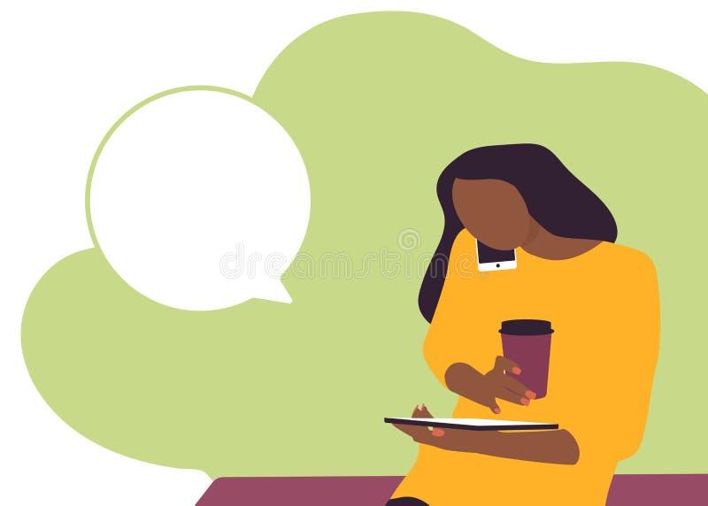 使用电话和桌的年轻女人定货 库存例证