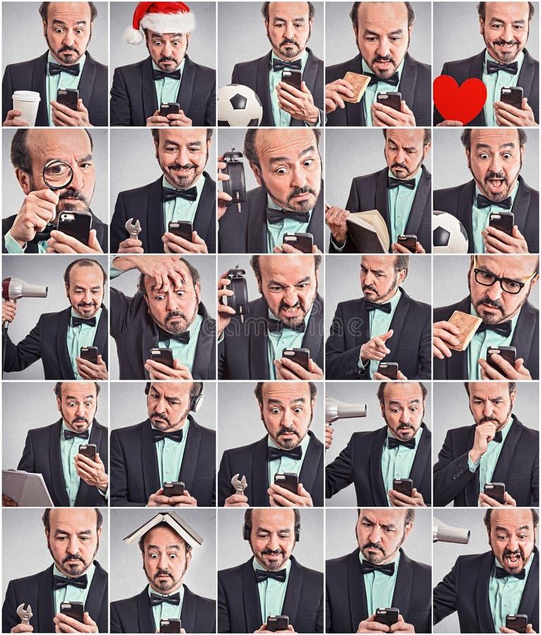 使用电话的人拼贴画用不同的情感 免版税库存照片