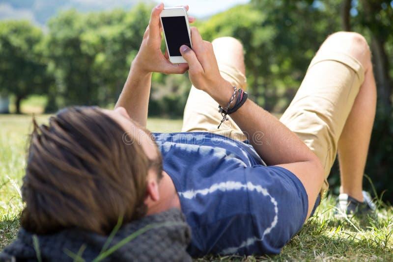使用电话的英俊的行家在公园 免版税库存图片