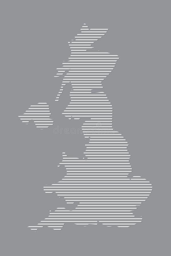 使用白色直线样式的英国地图传染媒介在黑背景 库存例证