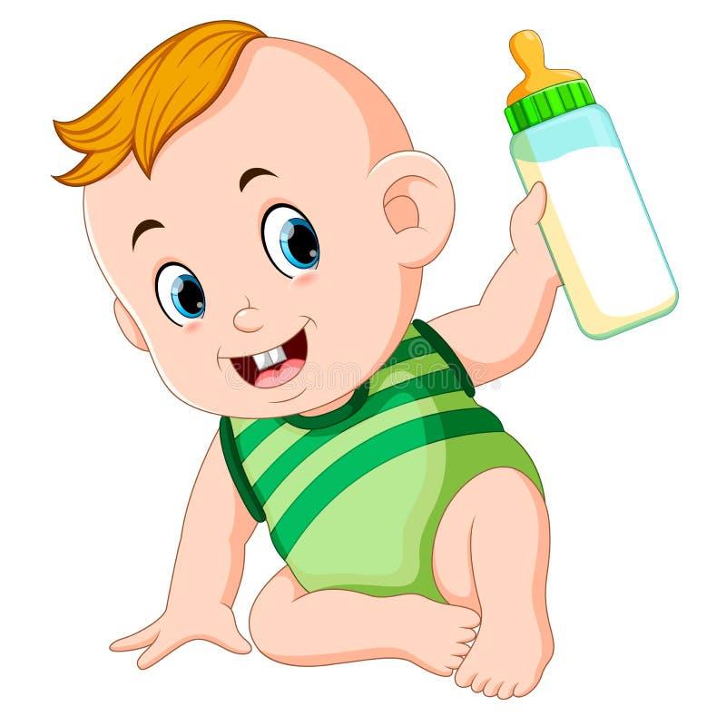 使用的可爱宝贝和拿着牛奶瓶 向量例证