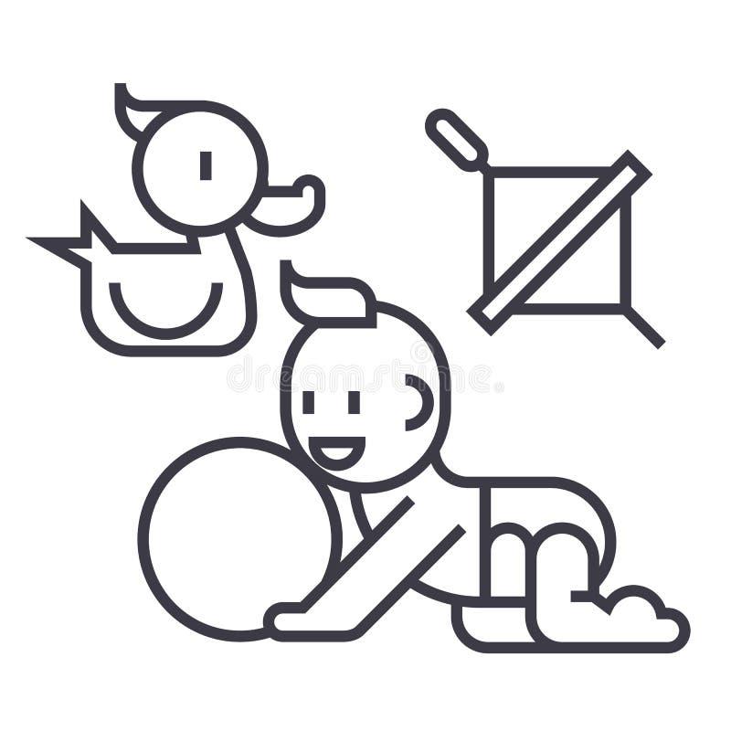 使用的婴孩,鸭子,婴孩,球,陀螺传染媒介线象,标志,在背景,编辑可能的冲程的例证 皇族释放例证
