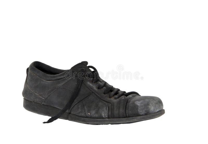 使用的皮革葡萄酒老鞋子 库存照片