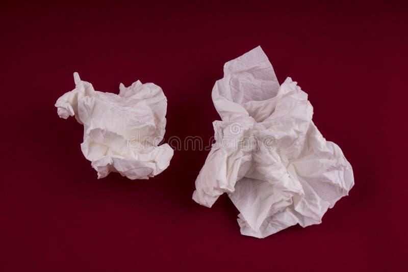 使用的纸手帕 免版税库存照片