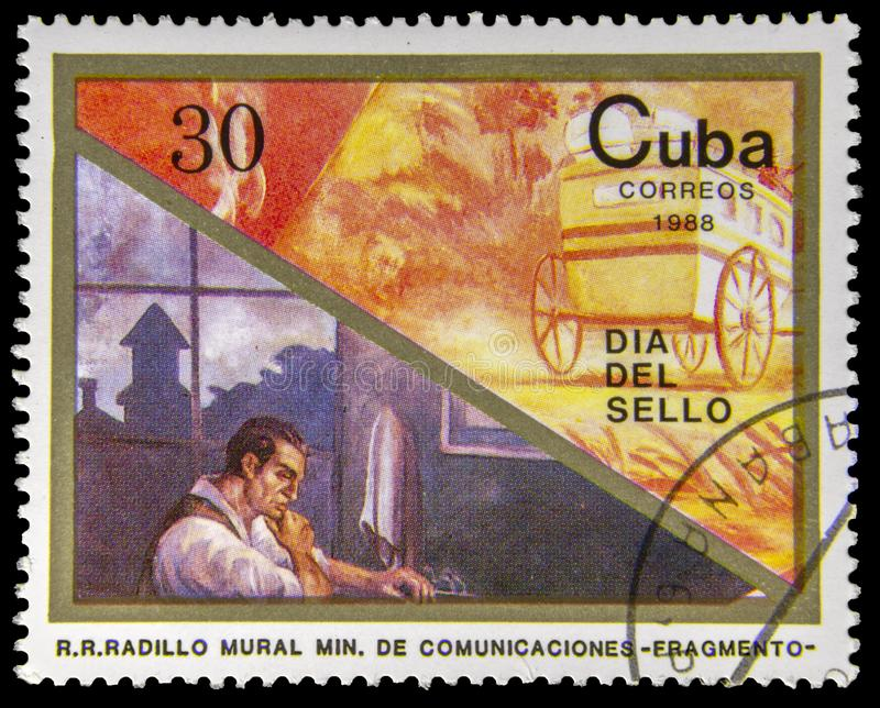 使用的邮票 免版税库存照片