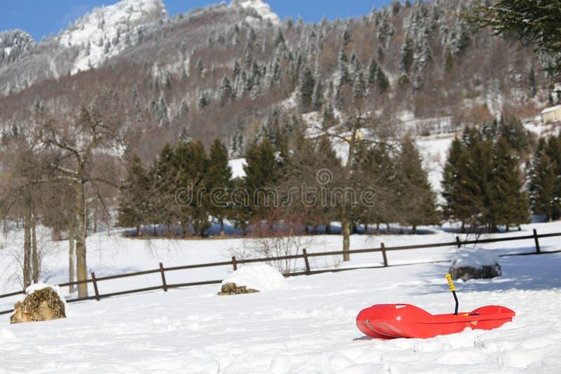 使用的鲍伯在山的雪 免版税图库摄影