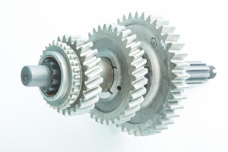 使用的齿轮为在发动机替换 库存照片