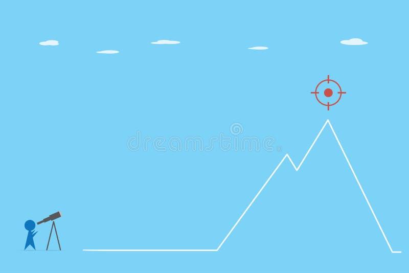 使用看在山、视觉和企业概念的望远镜的商人目标 库存例证