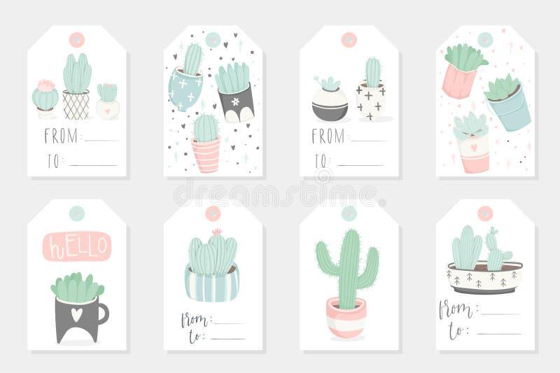 使用礼物夏天标记、卡片和贴纸的汇集的redy与多汁植物 库存例证