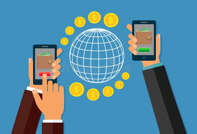 使用移动设备,有银行业务付款的app巧妙的电话的汇款 网上银行,不接触的付款,财政transac 皇族释放例证
