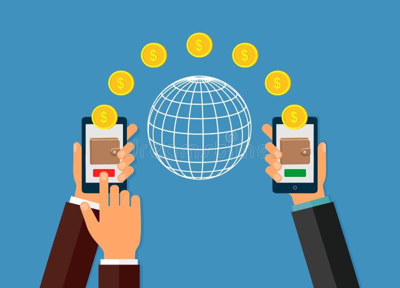 使用移动设备,有银行业务付款的app巧妙的电话的汇款 库存例证