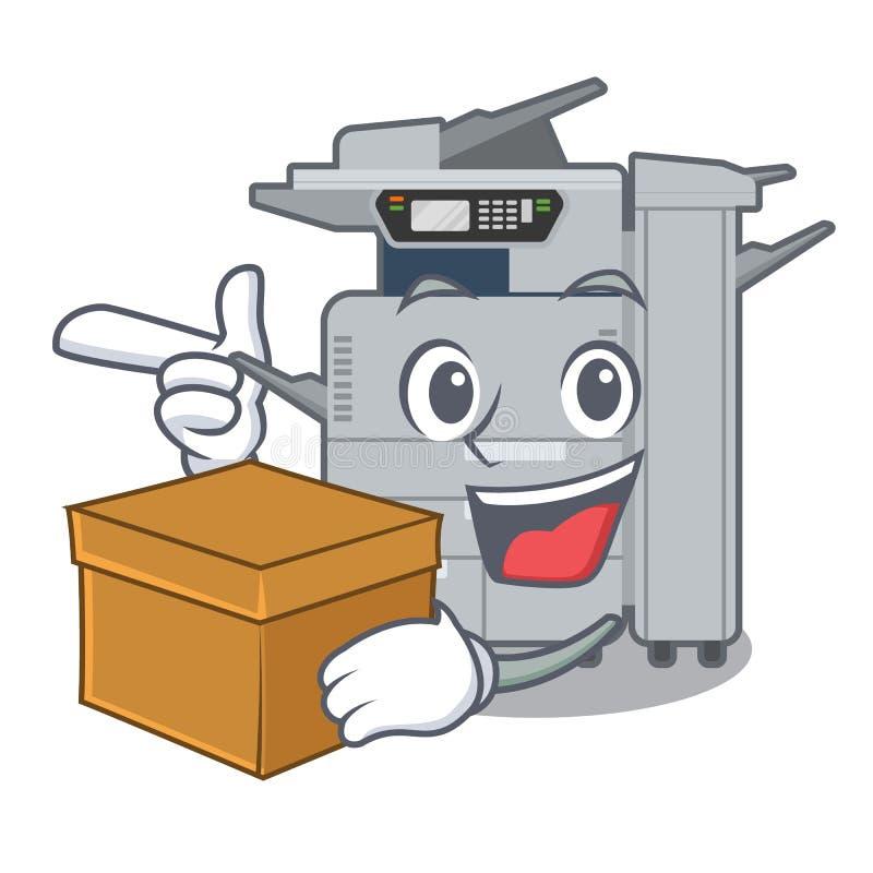 使用箱子在动画片隔绝的影印机机器 库存例证