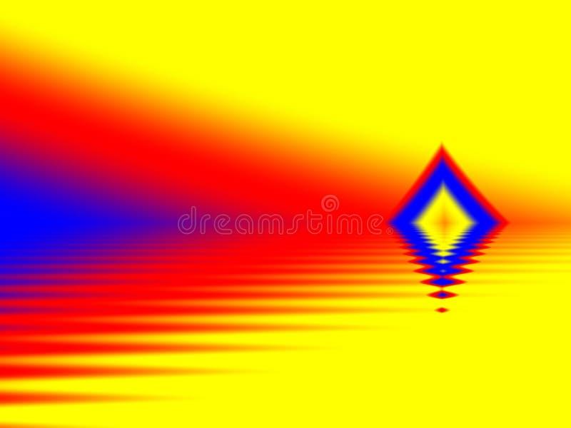 使用红色黄色的抽象图象和蓝色只 库存例证