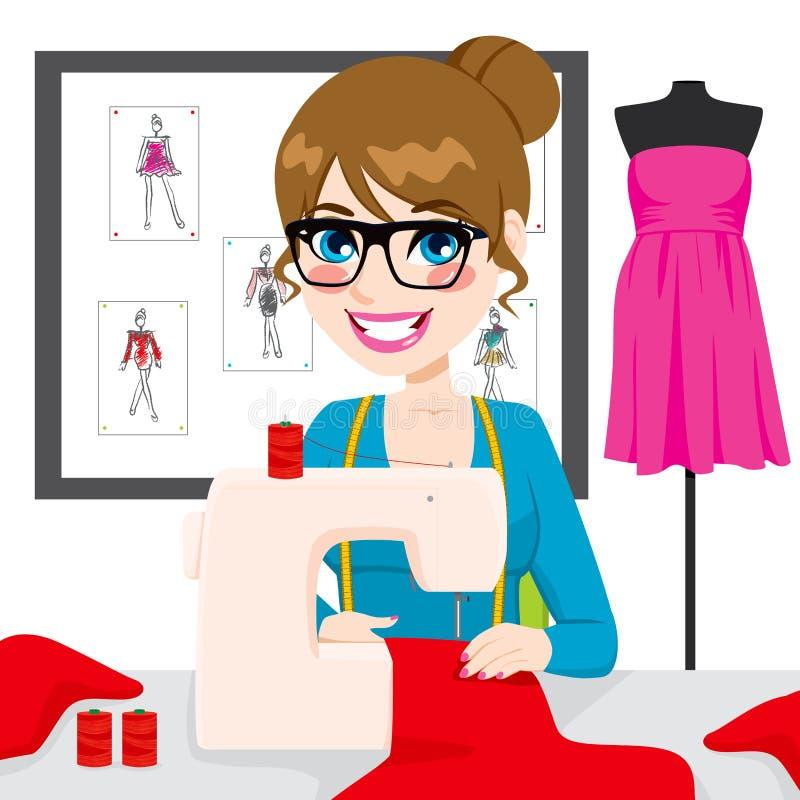 使用缝纫机的裁缝妇女 库存例证