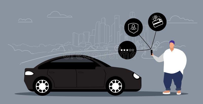 使用网上流动应用程序租汽车分享概念运输汽车共用模式服务超重人藏品的肥胖人 向量例证