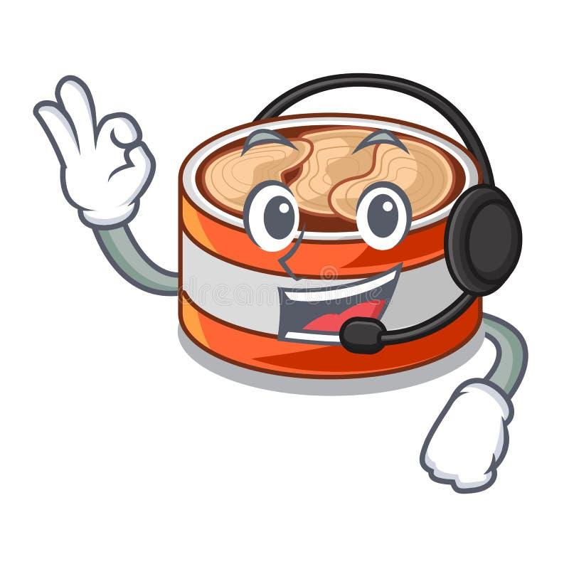 使用耳机在动画片厨柜的罐装金枪鱼 皇族释放例证