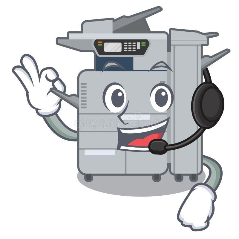 使用耳机在字符椅子旁边的影印机机器 向量例证