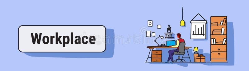 使用膝上型计算机坐的工作场所书桌概念工作内阁家具现代办公室室内设计剪影乱画的人 库存例证