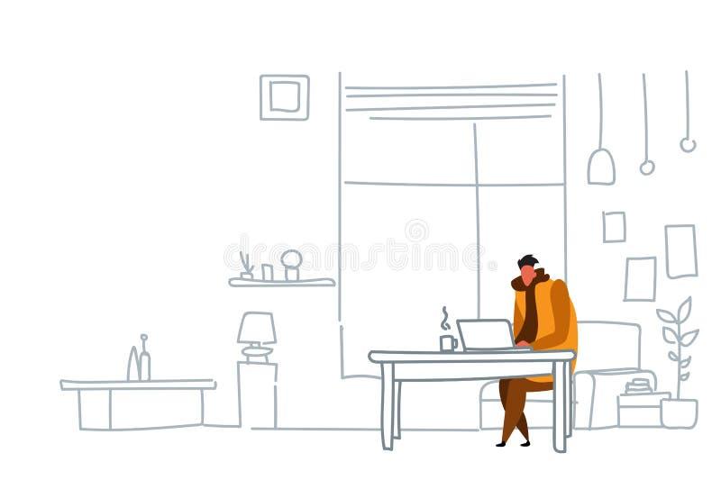 使用膝上型计算机坐的工作场所人运作的过程概念现代办公室或客厅内部剪影的人自由职业者 皇族释放例证