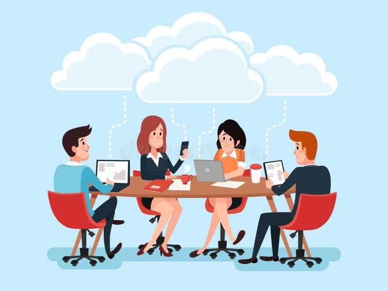 使用膝上型计算机的企业队,分享办公室文件的商人,聊天关于云彩技术的真正会议 向量例证