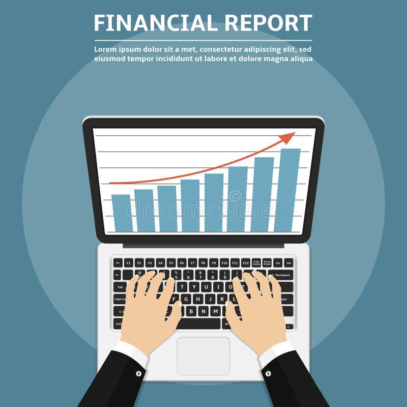 使用膝上型计算机的商人手有在显示器、网上行销和计算机科技概念的财政报告图表的 向量例证