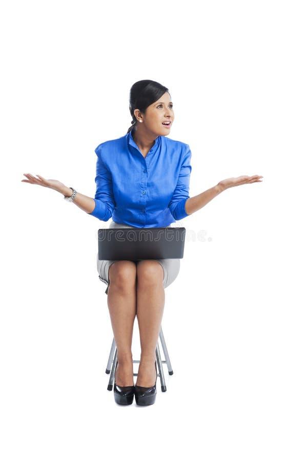 使用膝上型计算机的女实业家 库存图片