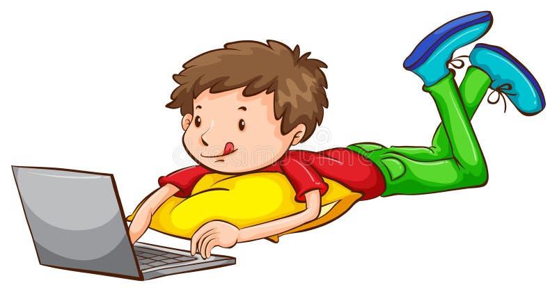 使用膝上型计算机的男孩的一个色的剪影 皇族释放例证