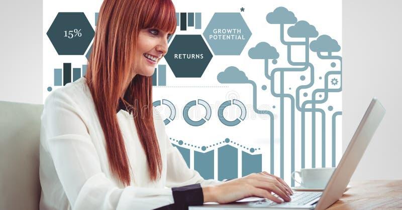 使用膝上型计算机的红头发人妇女反对图表 库存图片