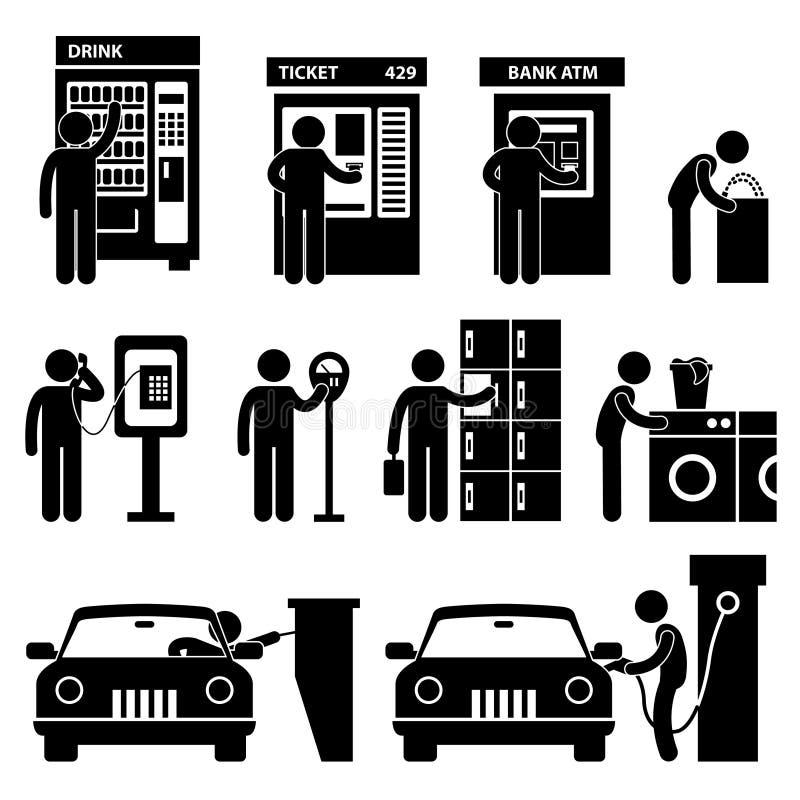 使用自动公共设备的人 库存例证