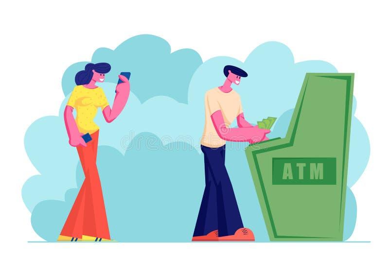 使用自动出纳机,反过来等使用的年轻女人Atm在银行、人凹道或者被投入的金钱,人们在队列站立, 向量例证