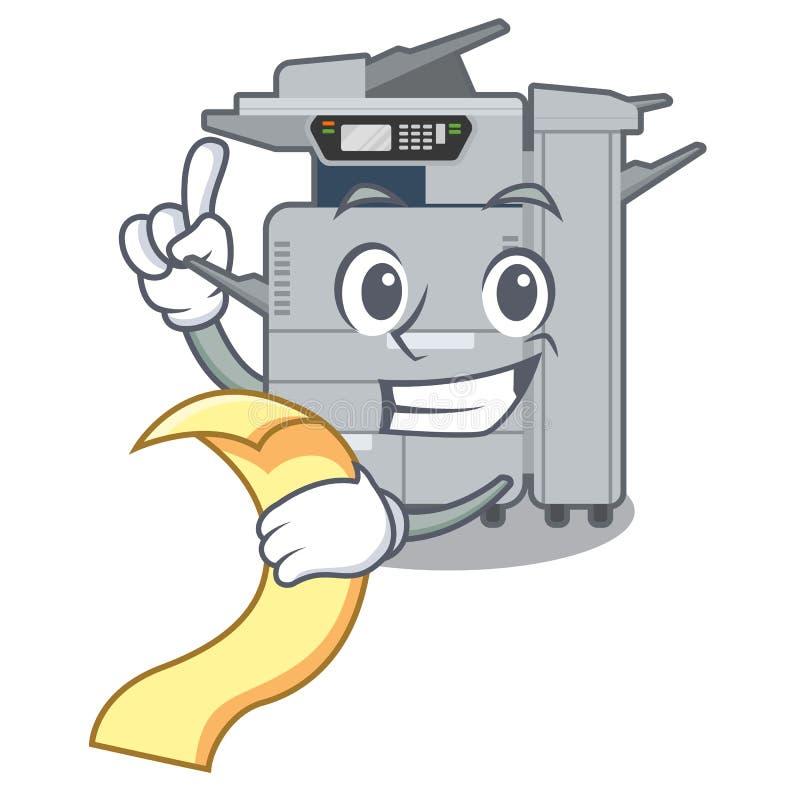 使用菜单在吉祥人木桌上的影印机机器 库存例证