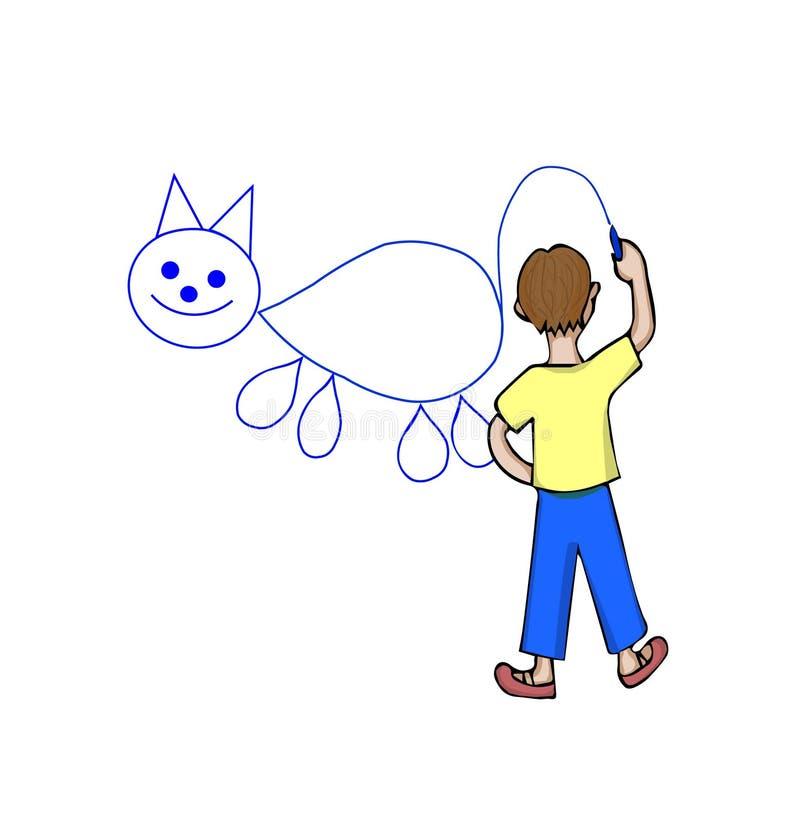 使用蓝色白垩,一个小男孩画猫 向量例证