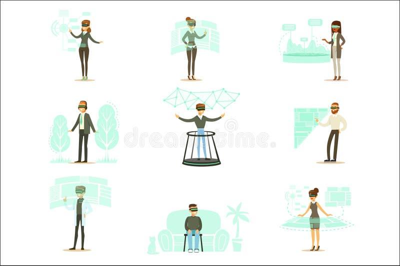 使用虚拟现实技术的微笑的人被设置动画片场面 库存例证