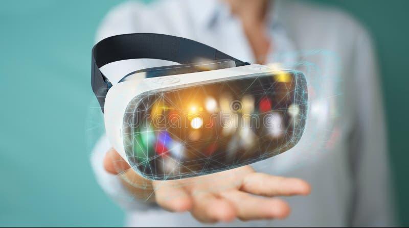 使用虚拟现实玻璃技术3D翻译的女实业家 向量例证