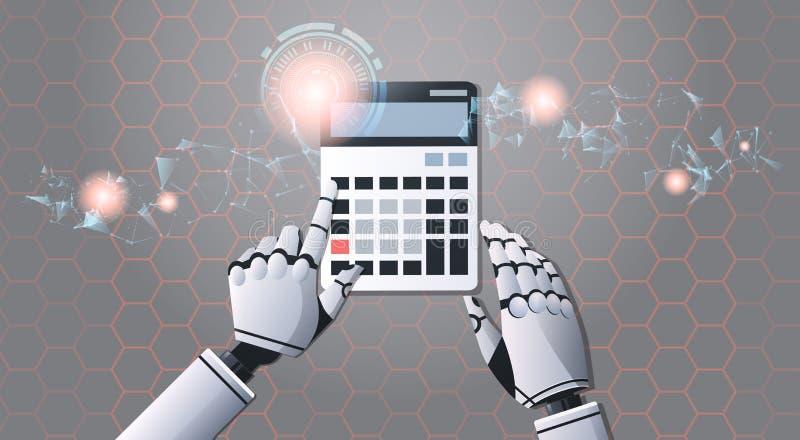 使用计算器油罐顶部角钢视图人工智能数字未来派技术概念的机器人会计 皇族释放例证