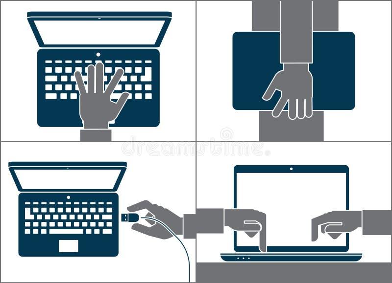 使用计算机的手 免版税库存照片
