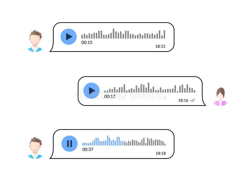 使用语音留言的两名用户conversate 音频消息通信 向量例证
