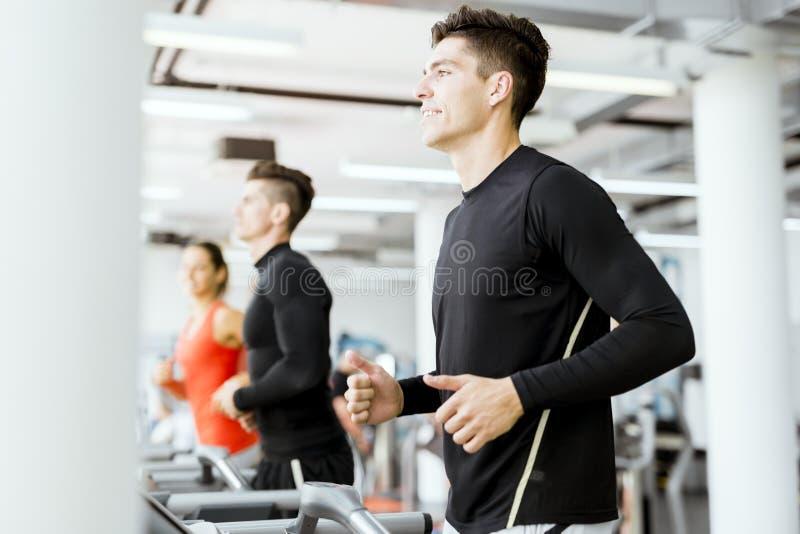 使用踏车的小组青年人在健身房 免版税库存图片