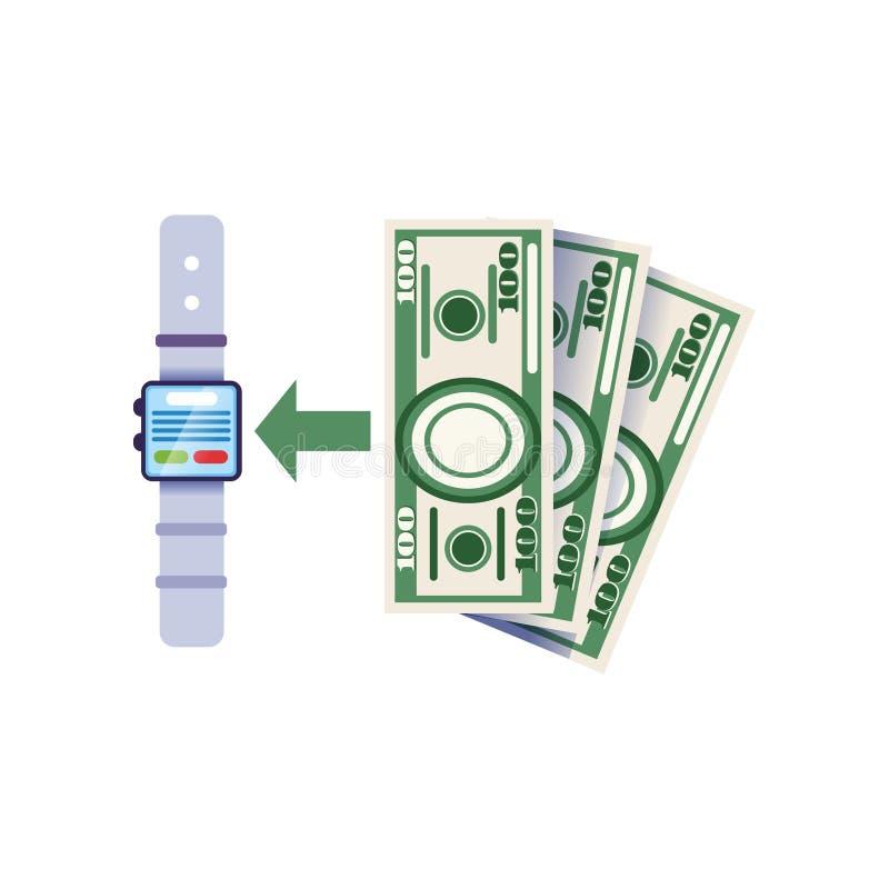 使用重新补充的smartwatch银行帐户 便携的付款设备象 银行业务可能计算机概念费用等在线问题象征 Infographic设计 皇族释放例证