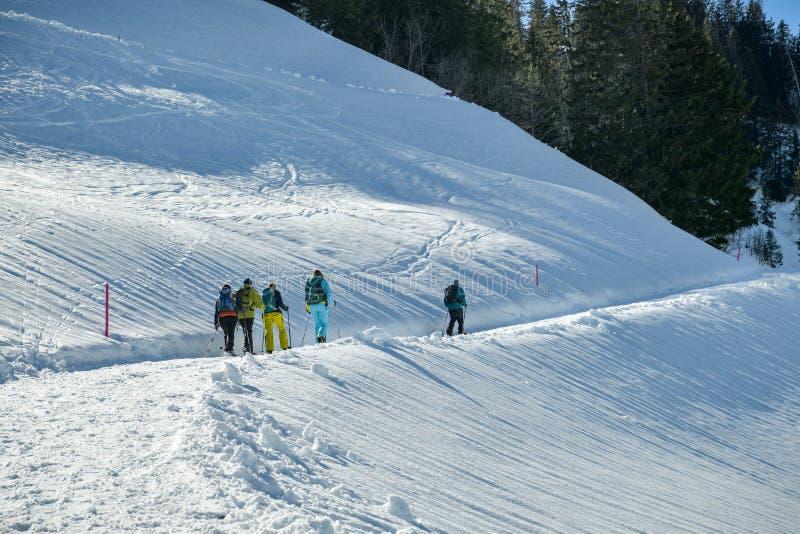 使用雪鞋子的游人在多雪的足迹的远足期间在龙疆附近 免版税图库摄影