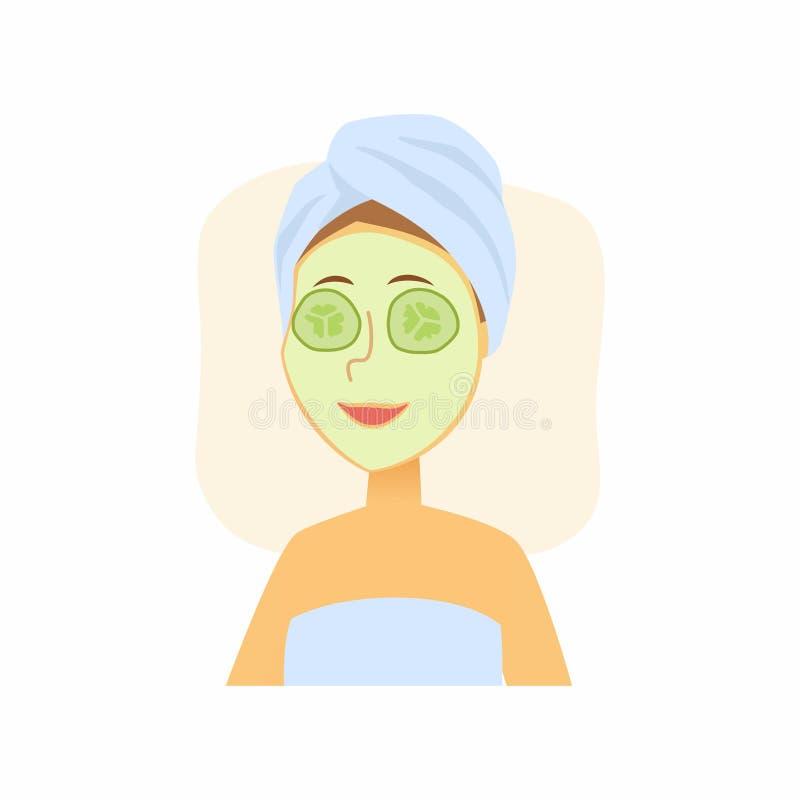 使用黄瓜面罩的妇女-动画片人字符隔绝了例证 库存例证