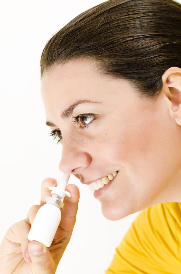 鼻孔喷射 免版税库存照片
