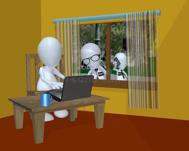 使用他的计算机的一个3d人的政府监视 库存例证