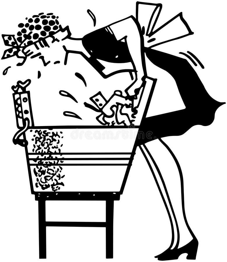 使用洗衣板的妇女 库存例证