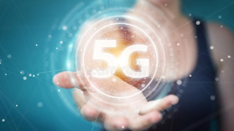 使用5G网络界面3D翻译的女实业家 向量例证