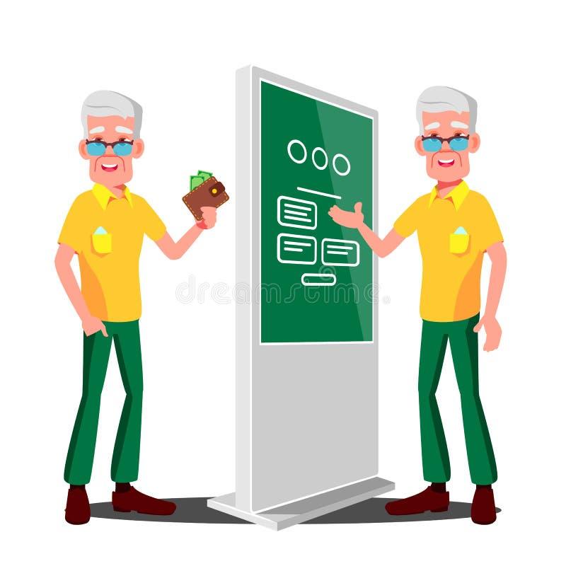 使用ATM,数字式终端传染媒介的老人 陈列的信息,做广告 被隔绝的平的动画片例证 库存例证