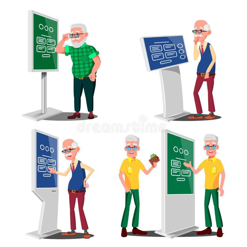 使用ATM,数字式终端传染媒介的老人 集合 LCD数字式标志为室内使用 交互式与信息有关的报亭 库存例证