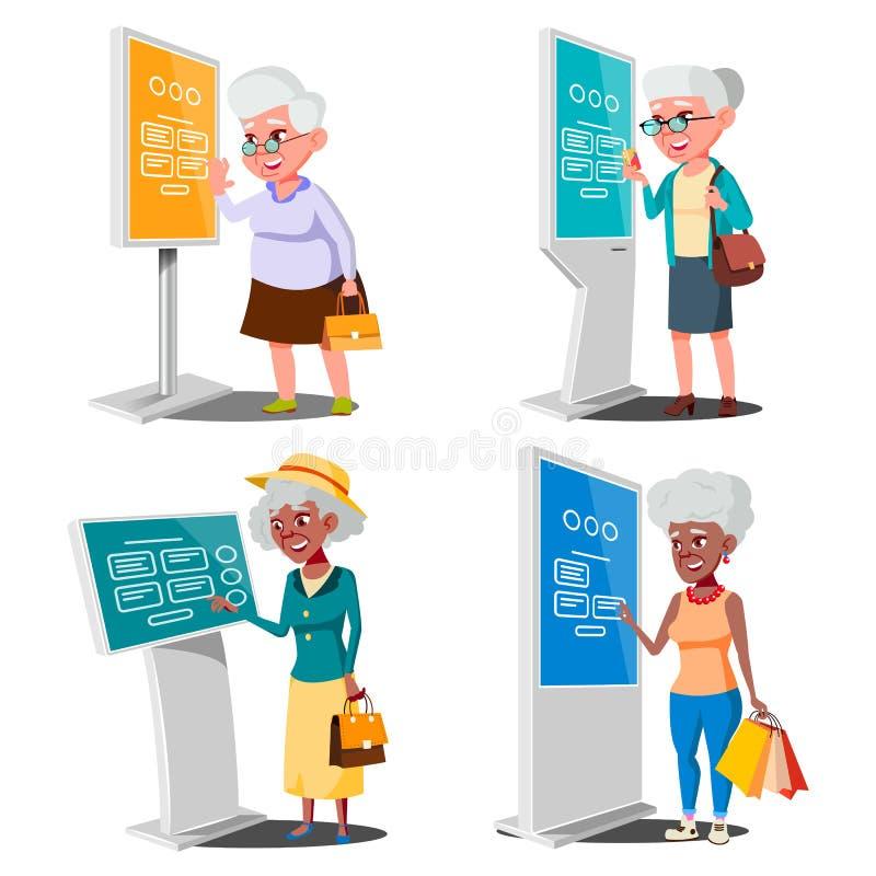 使用ATM,数字式终端传染媒介的老妇人 集合 LCD数字式标志为室内使用 交互式与信息有关的报亭 库存例证