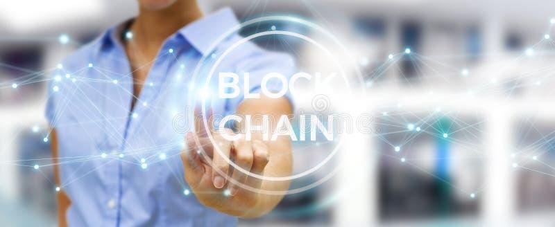 使用blockchain cryptocurrency接口3D rende的女实业家 皇族释放例证