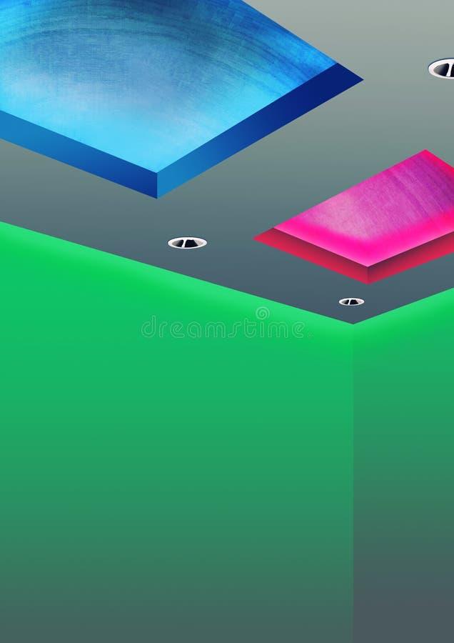 使用LED照明设备的独特的天花板 免版税库存图片